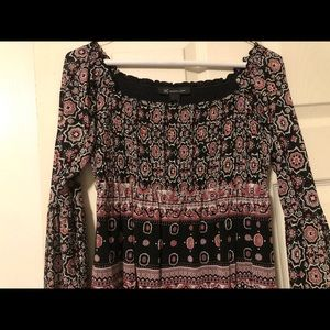 Shapes red, burgundy and black blouse